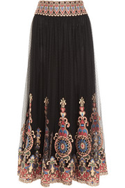 Savanna embroidered point d'esprit tulle maxi skirt
