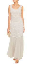 Kimberley embroidered tulle and point d'esprit maxi dress