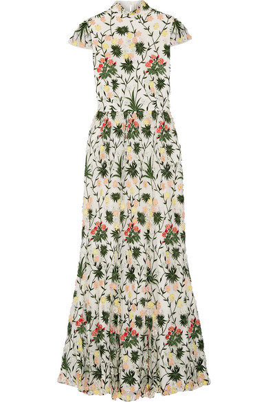 Alice Olivia Arwen Embellished Embroidered Tulle Gown Net A