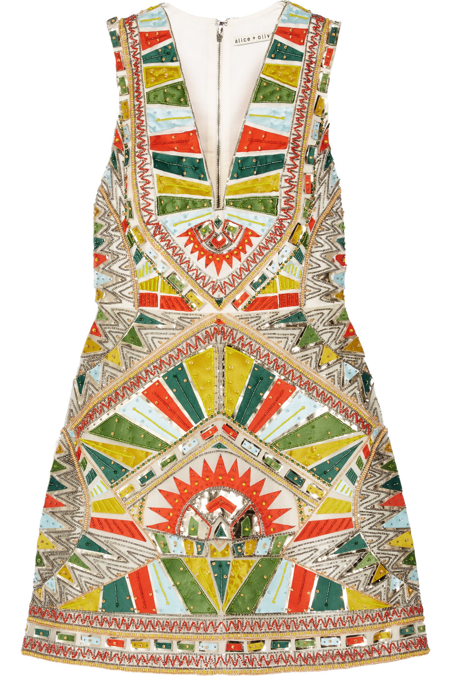 Alice + Olivia Natali Embellished Duchesse-Silk Mini Dress, Green/Yellow, Women's - Geometric, Size: 4