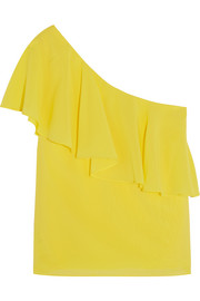 Izidora one-shoulder stretch-silk top