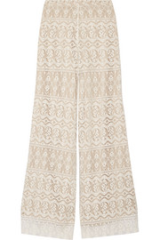 Athena cotton-blend lace wide-leg pants