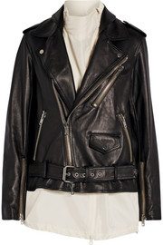 Silk-trimmed leather biker jacket