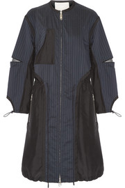 Pinstriped shell and silk parka
