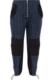 Pinstriped cotton-blend paneled linen tapered pants