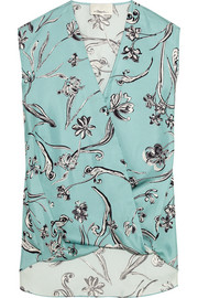 Wrap-effect floral-print silk-twill blouse