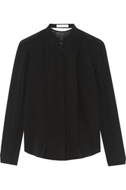 Dion Lee Cutout silk crepe de chine and chiffon blouse