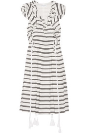 San Rafael ruffled striped linen and silk-blend dress