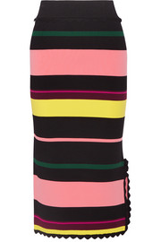 Las Palmas striped stretch-knit midi skirt