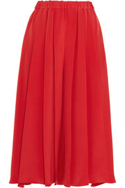 Pleated silk crepe de chine culottes