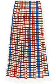 Pleated checked crepe midi skirt