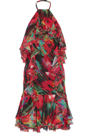 Ruffled printed silk-chiffon dress