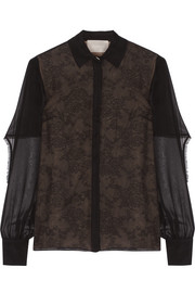 Jason Wu Cape-back silk-chiffon and lace blouse