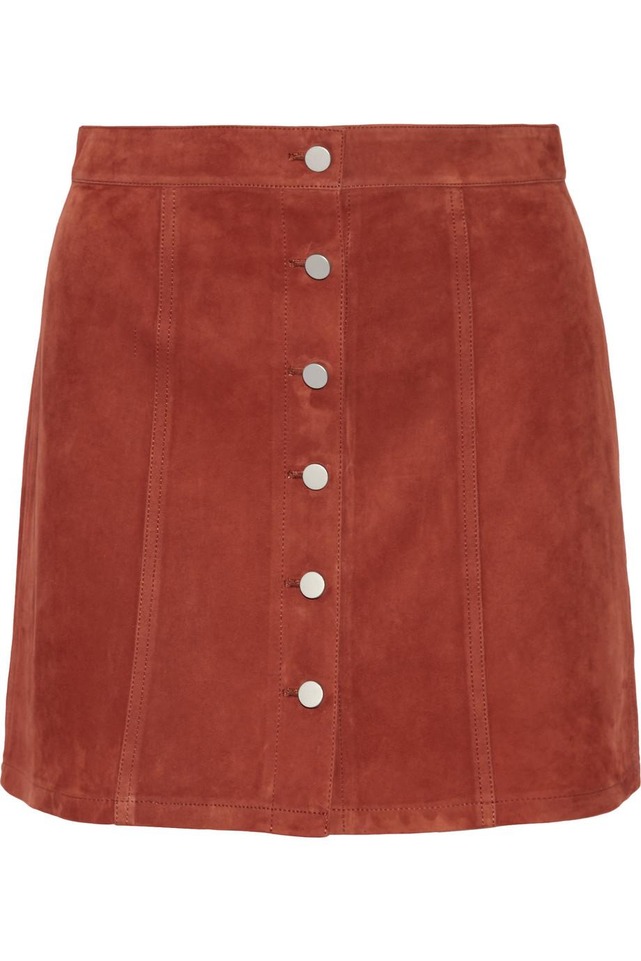 Theory Benna Suede Mini Skirt, Camel, Women's, Size: 0