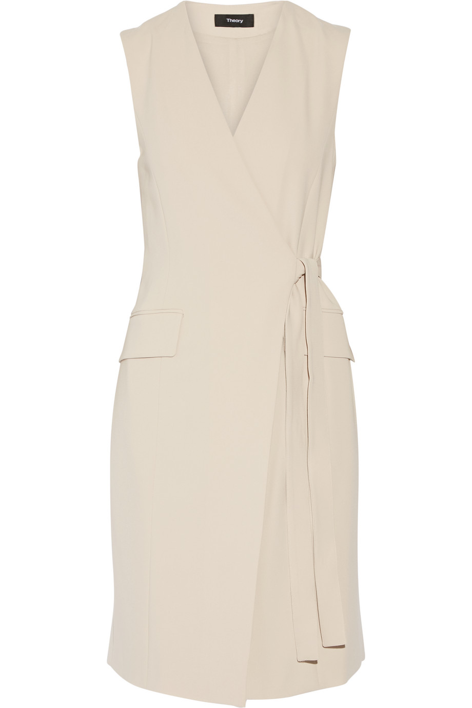 Theory Livwilth Crepe Wrap Dress, Beige, Women's, Size: 0