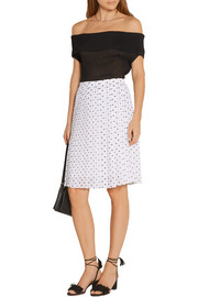 Lewdill pleated polka-dot silk-georgette skirt