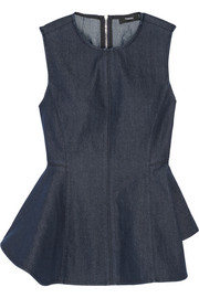 Kalsing asymmetric denim peplum top
