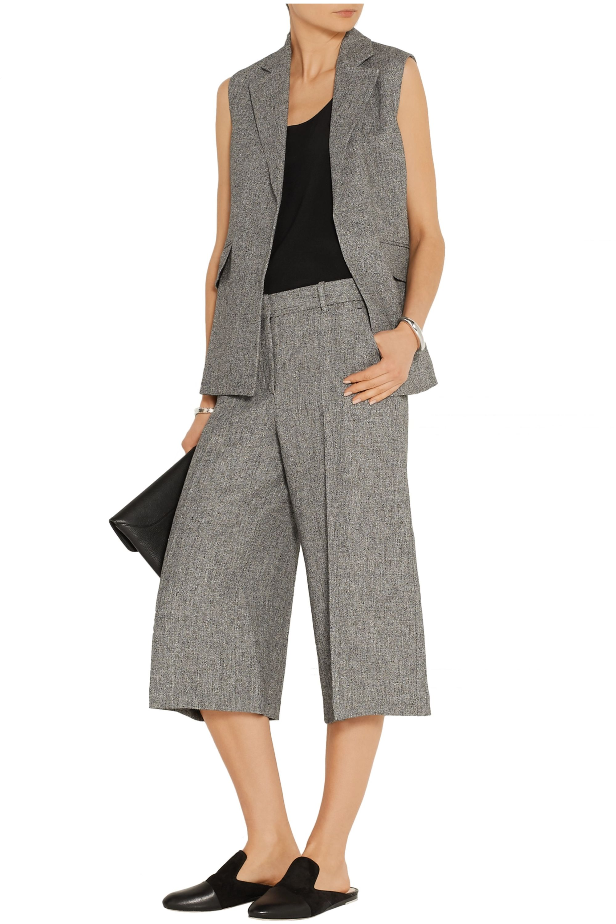 Theory Halientra linen-crepe culottes