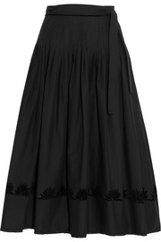 Pleated cotton-poplin wrap skirt