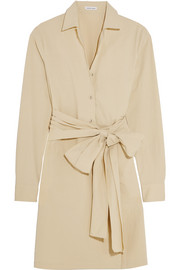 Belted stretch-cotton poplin shirt dress