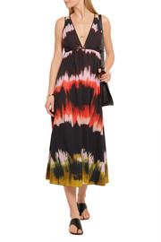 Tomas Maier Cutout tie-dyed cotton-poplin midi dress