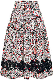 Sevilla lace-trimmed printed cotton-poplin skirt