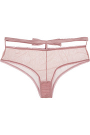 Fleur Du Mal + Playboy bow-embellished stretch-tulle briefs