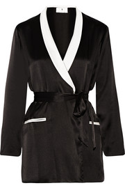 + Playboy two-tone silk-satin robe