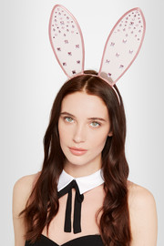 + Playboy Swarovski crystal-embellished tulle bunny ear headband
