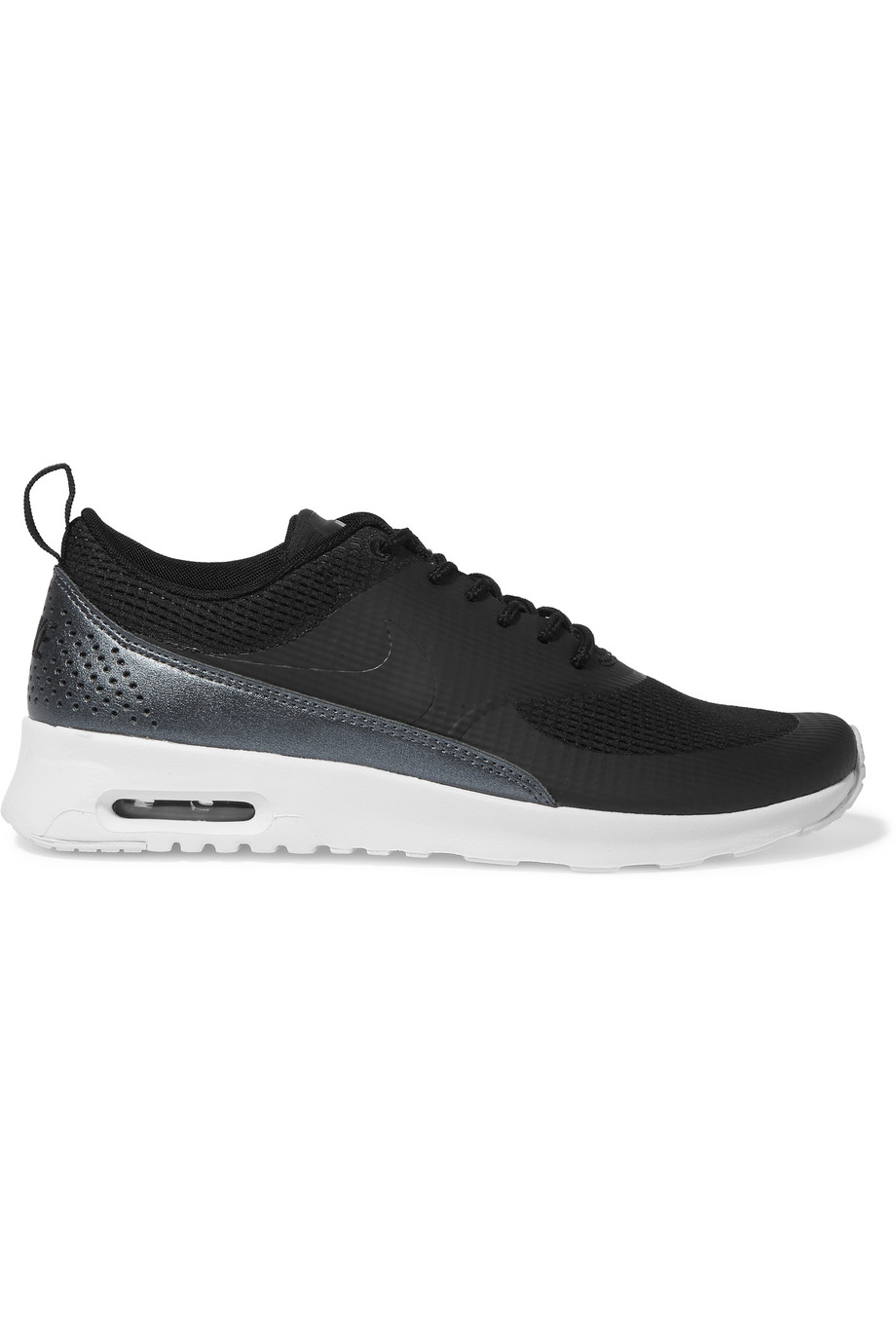Nike Air Max Thea Mesh and Faux Leather Sneakers, Black, Women's, Size: 5.5