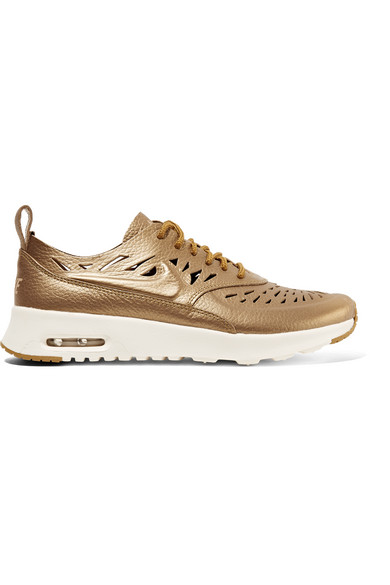 Air Max Thea Joli metallic cutout textured leather sneakers
