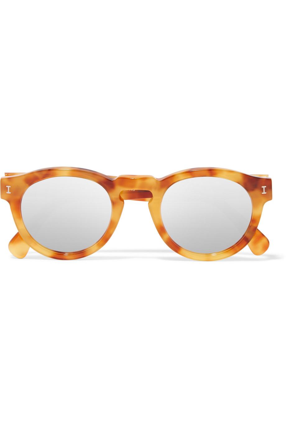 Illesteva Leonard Round-Frame Acetate Mirrored Sunglasses, Tortoiseshell/Light Brown, Women's