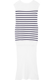 Striped cotton and silk-crepe dress