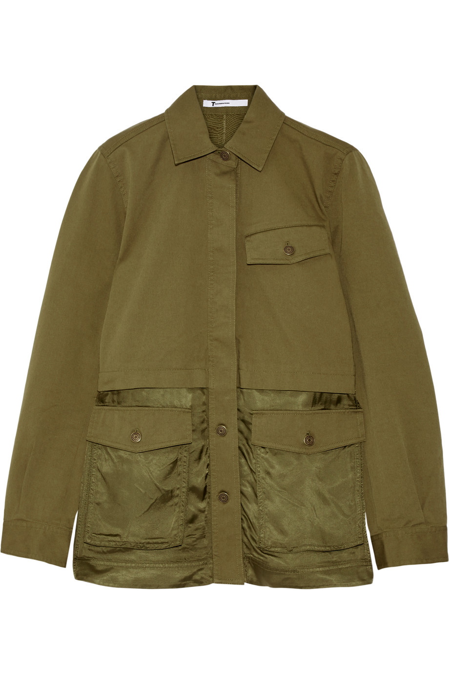 Stretch-Cotton Twill and Satin Jacket, T by Alexander Wang, Army Green, Women's, Size: 4