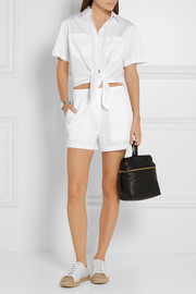 T by Alexander Wang Tie-front cutout cotton-poplin playsuit