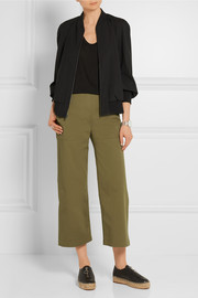 T by Alexander Wang Cropped stretch-cotton twill wide-leg pants
