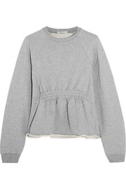 Cotton-terry peplum sweatshirt