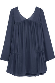 Elizabeth and James Theron ruched silk-chiffon mini dress