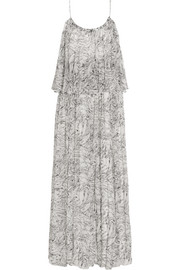 Wind Mael printed crinkled silk-georgette maxi dress