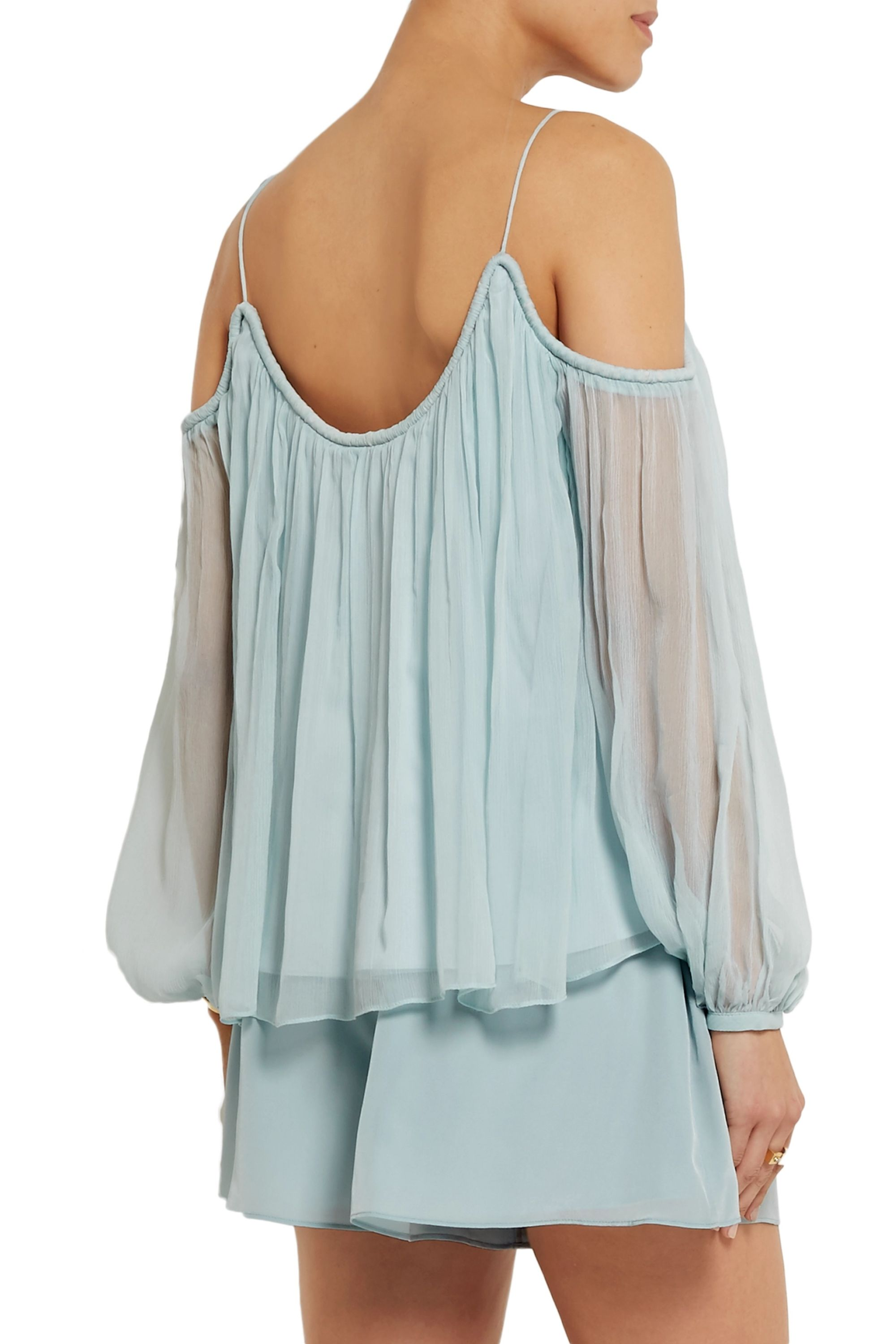 Elizabeth and James Maylin crinkled silk-georgette top