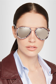 Cutler and Gross Aviator-style acetate and metal mirrored sunglasses