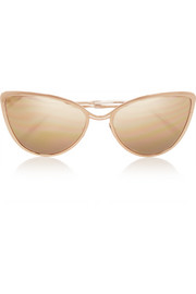 Cat-eye rose gold-plated mirrored sunglasses
