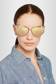 Cutler and Gross Round-frame acetate and rose-gold tone mirrored sunglasses
