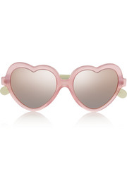 Cocktail heart-shaped acetate mirrored sunglasses