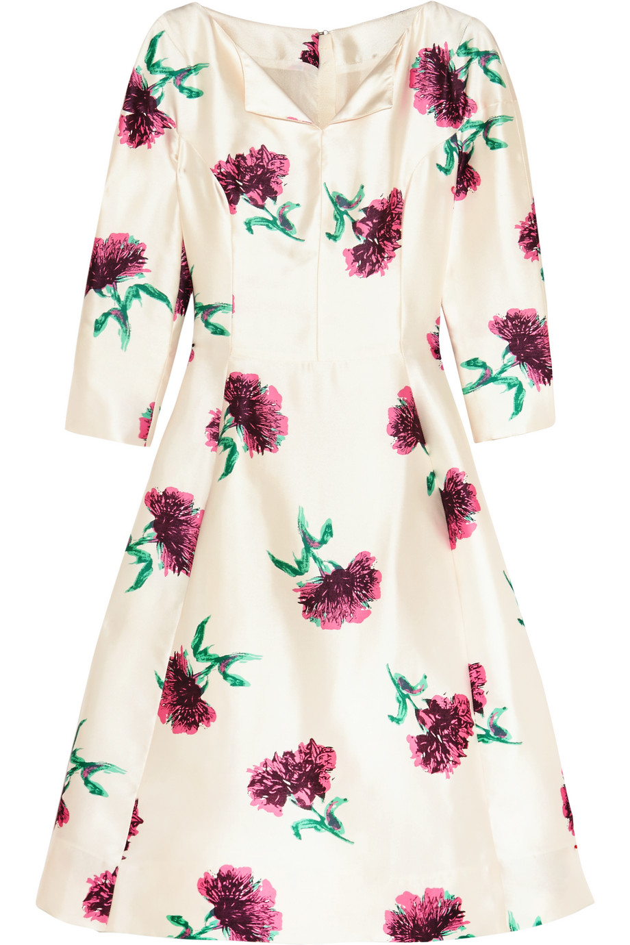 Oscar De La Renta Floral-Print Silk-Twill Dress, Ivory/Magenta, Women's - Printed, Size: 0
