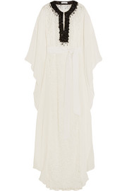 Embellished guipure lace and silk crepe de chine maxi dress