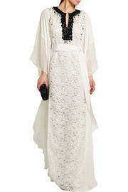 Oscar de la Renta Embellished guipure lace and silk crepe de chine maxi dress