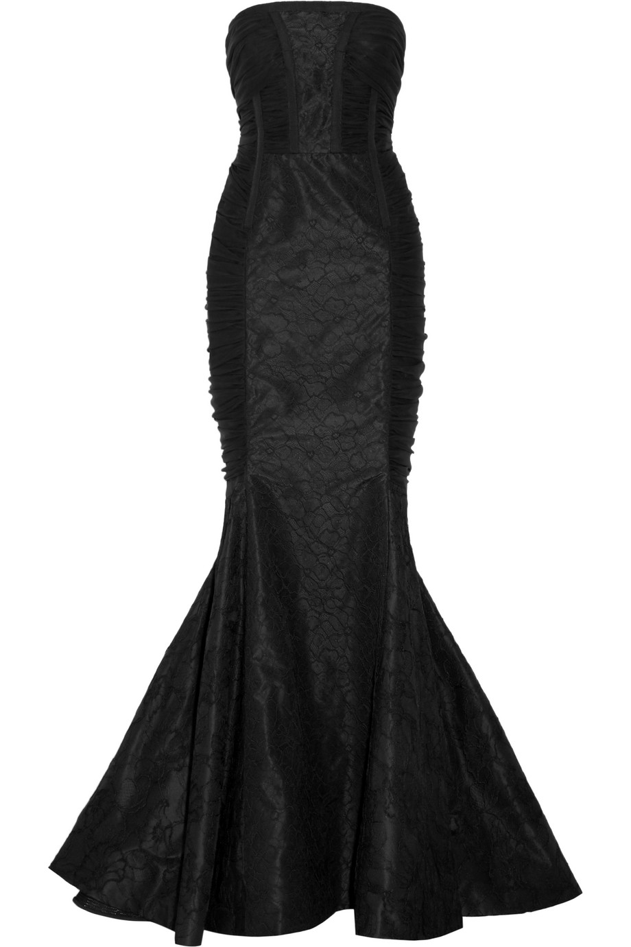 Oscar De La Renta Ruched Lace and Silk-Chiffon Gown, Black, Women's, Size: 8