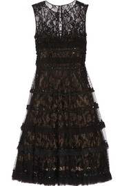 Embellished tulle, point d'esprit and lace dress
