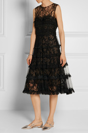Oscar de la Renta Embellished tulle, point d'esprit and lace dress